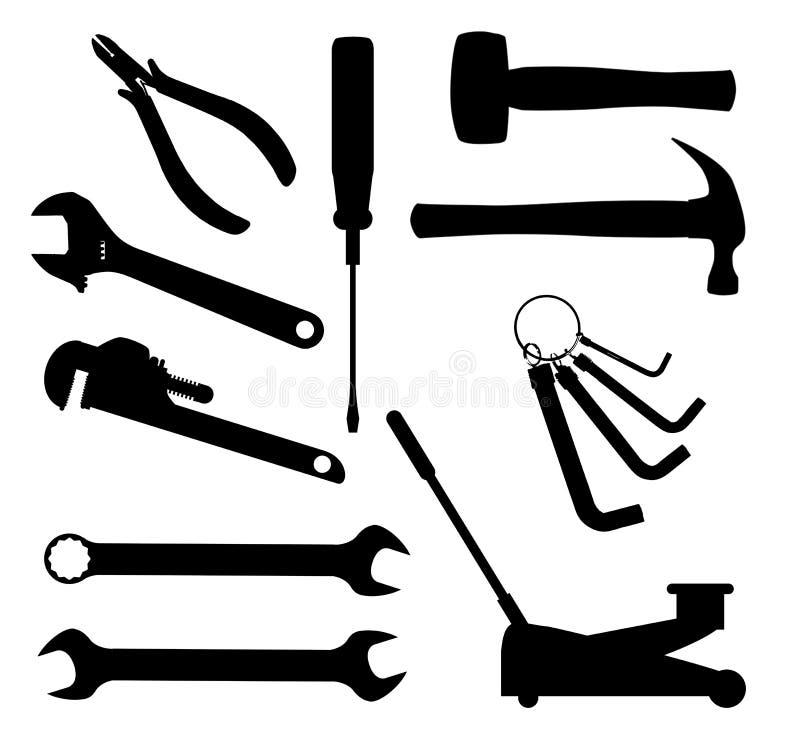 Herramientas de los mecánicos del motor ilustración del vector