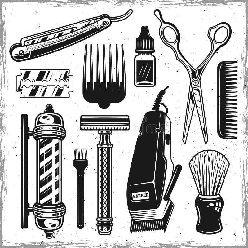 Herramientas de los peluqueros y elementos del vintage de la barbería stock de ilustración