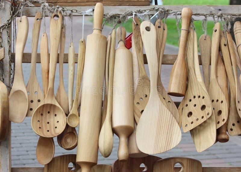 Herramientas de madera de la cocina imágenes de archivo libres de regalías