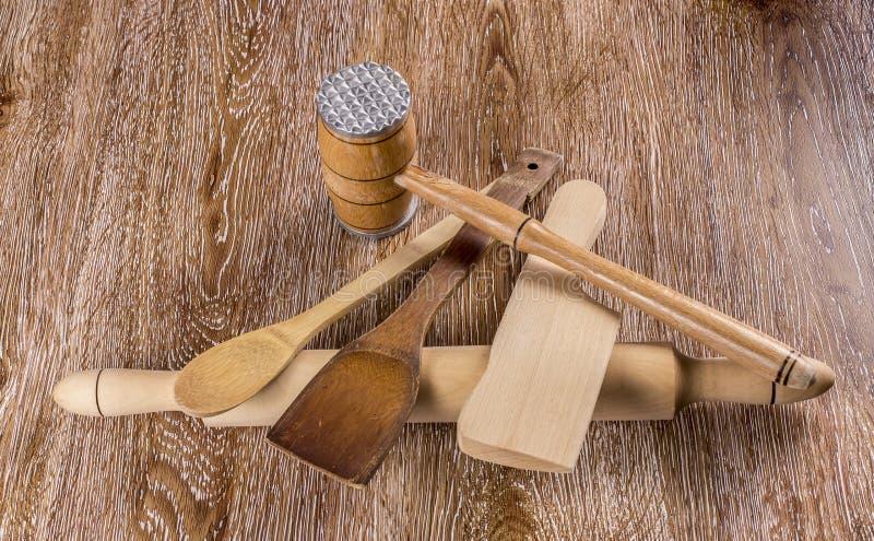 Herramientas de madera de la cocina imagen de archivo
