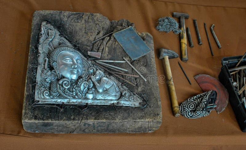 Herramientas de talla de plata imagenes de archivo
