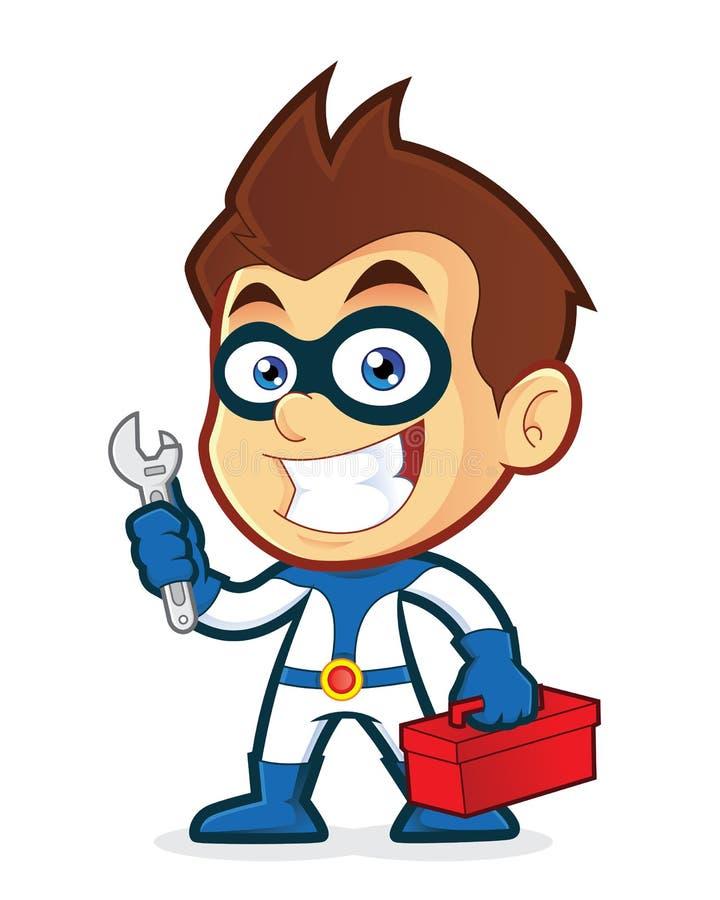 Herramientas de tenencia del super héroe stock de ilustración