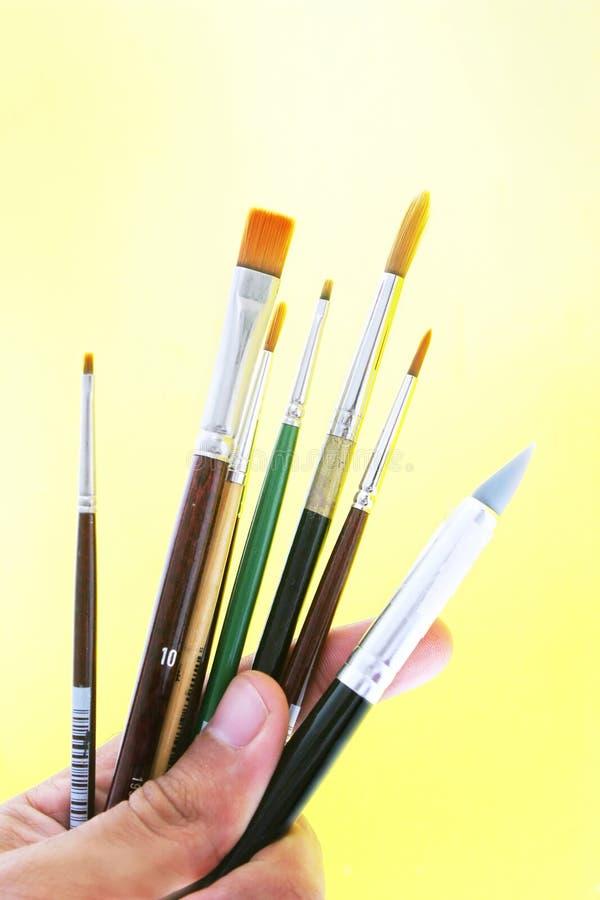 Herramientas del arte - cepillos imagen de archivo libre de regalías