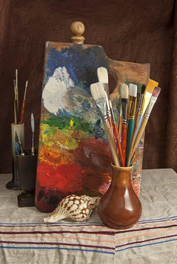 Herramientas del artista - pintor foto de archivo