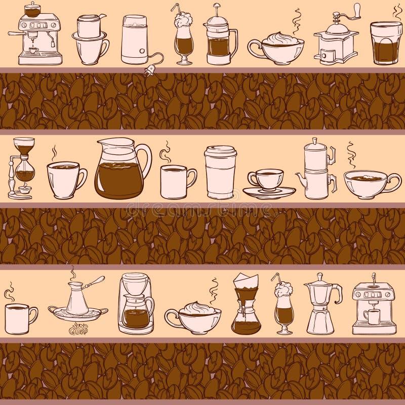 Herramientas del café de Barista Estilo del bosquejo doodles Modelo stock de ilustración