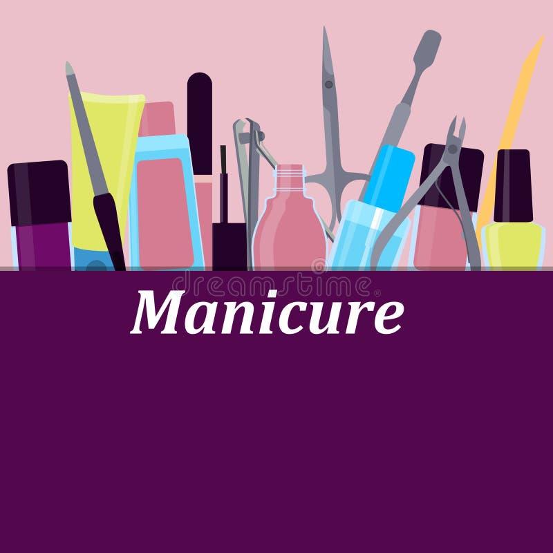 Herramientas del cartel para la manicura stock de ilustración