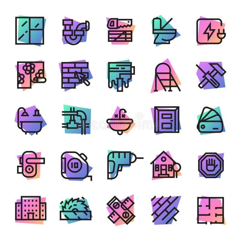 Herramientas del constructor de los iconos de la construcción para que edificio y equipo constructivo del ejemplo de la casa de l libre illustration