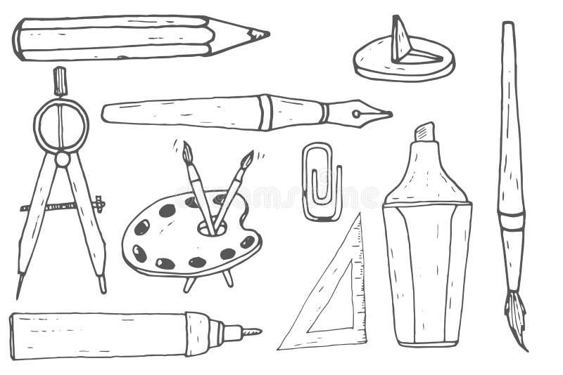 Herramientas del dibujo y de la pintura Bosquejo drenado mano stock de ilustración