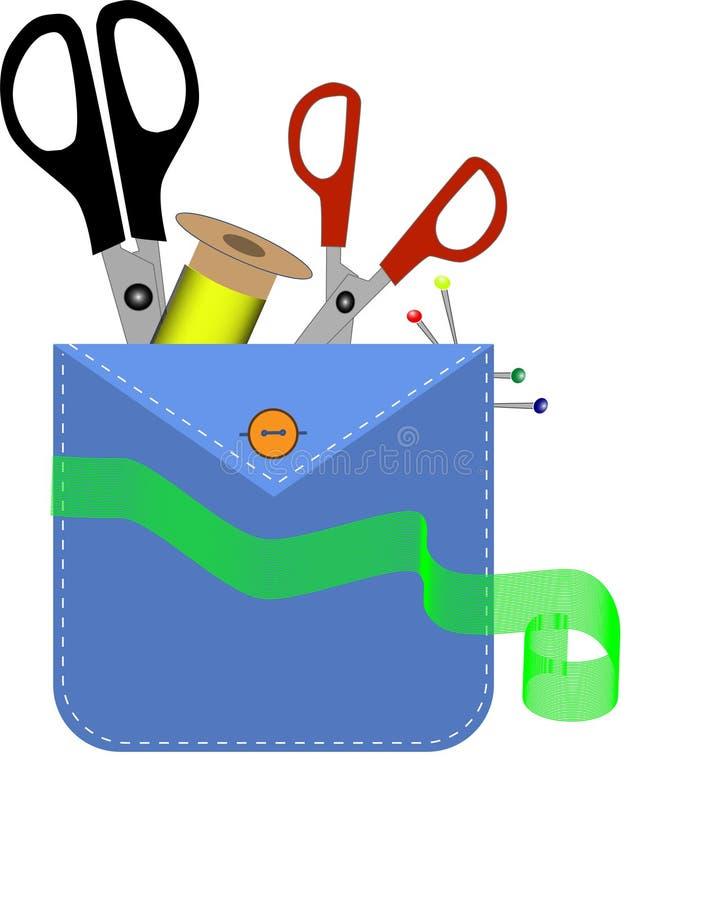 Herramientas del diseñador de moda en el bolsillo Taller casero: aguja y tijeras stock de ilustración