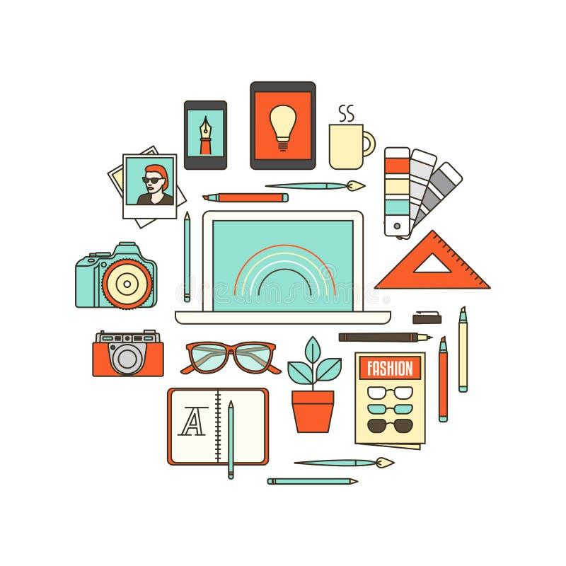 Herramientas del diseñador gráfico stock de ilustración