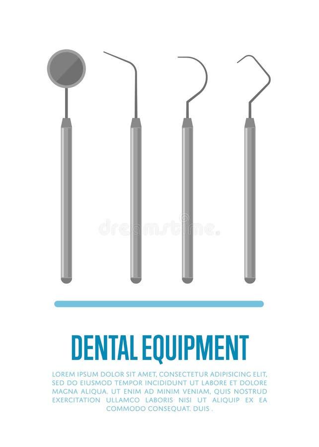 Herramientas del equipamiento médico para el cuidado dental de los dientes ilustración del vector