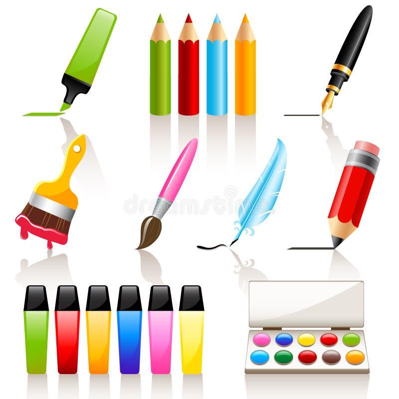 Herramientas del gráfico y de la pintura stock de ilustración