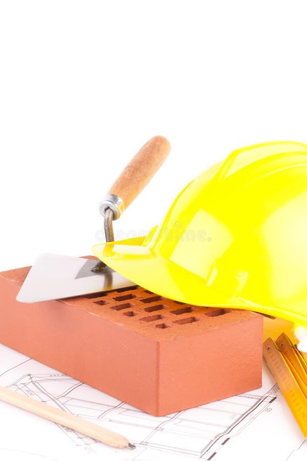 Herramientas del ladrillo y de la construcción imagen de archivo