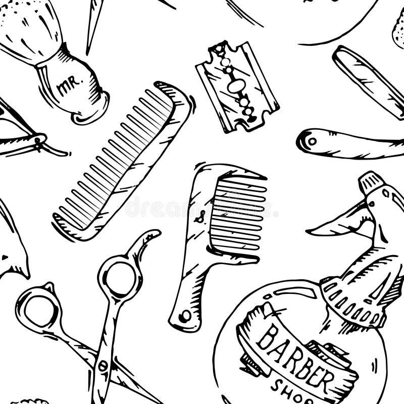 Herramientas del vintage de la peluquería de caballeros libre illustration