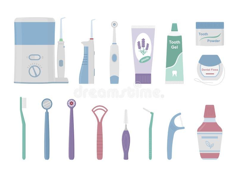 Herramientas dentales de la limpieza ilustración del vector