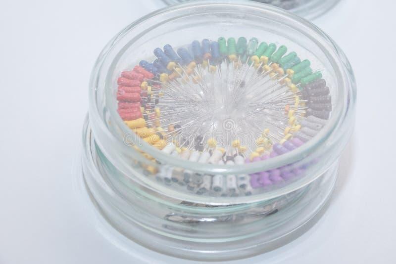 Herramientas dentales en la caja redonda de cristal Instrumentos dentales - k-ficheros Captura de las herramientas del dentista d fotografía de archivo