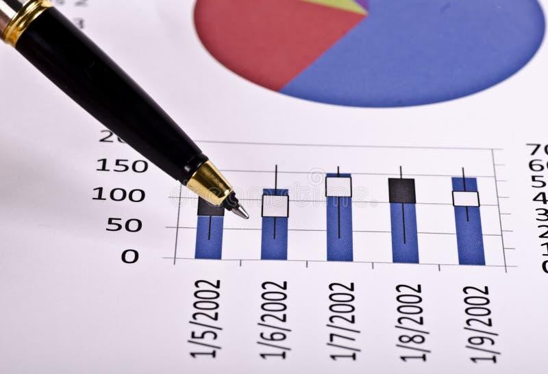 Herramientas financieras, pluma que señala sobre un informe imagen de archivo