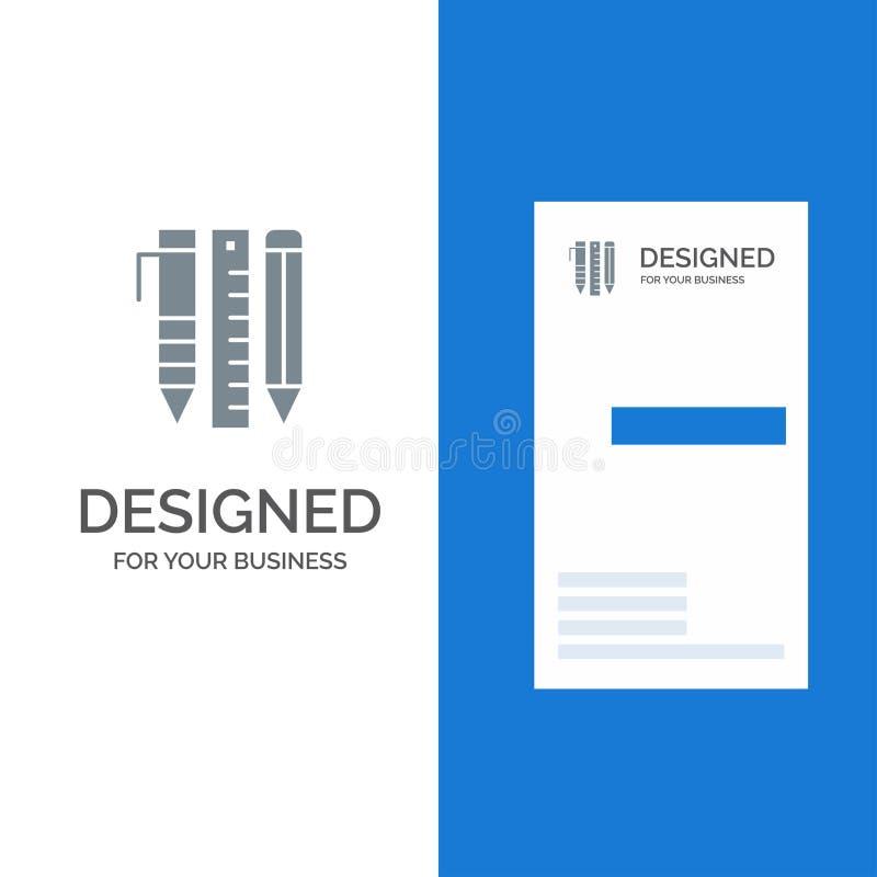 Herramientas, herramientas, inmóvil esenciales, artículos, Pen Grey Logo Design y plantilla de la tarjeta de visita ilustración del vector