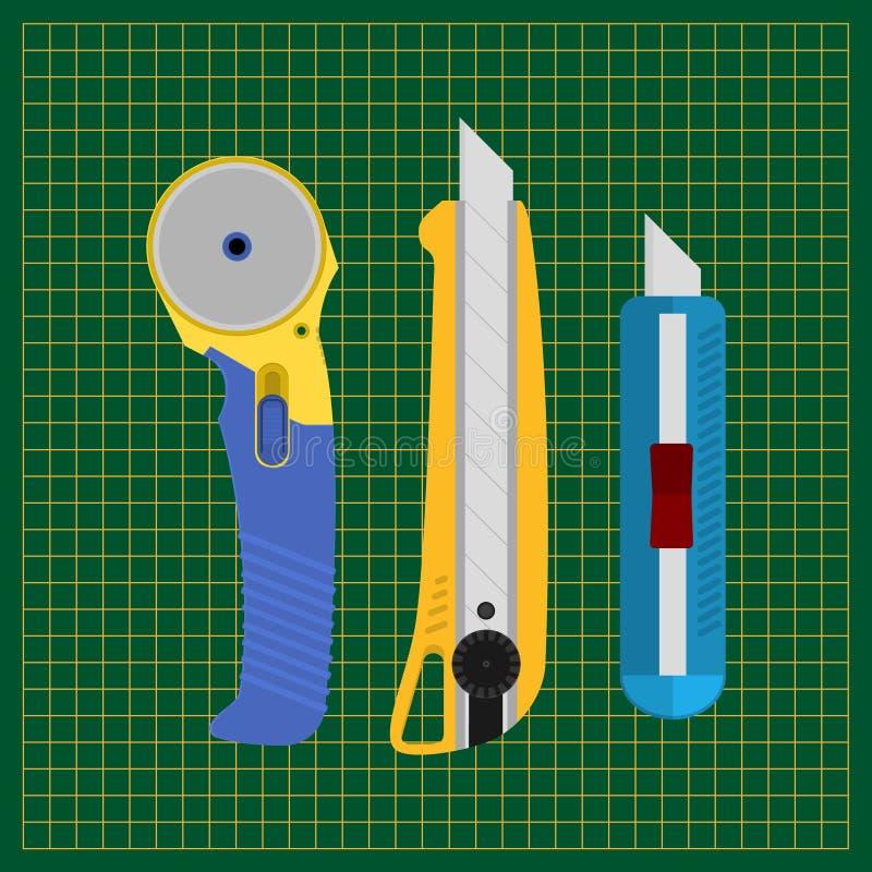 Herramientas para cortar el papel y la tela Cuchillo de los efectos de escritorio, cortando la estera, cortador rotatorio de la c stock de ilustración
