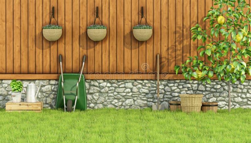 Herramientas para cultivar un huerto en un jardín stock de ilustración