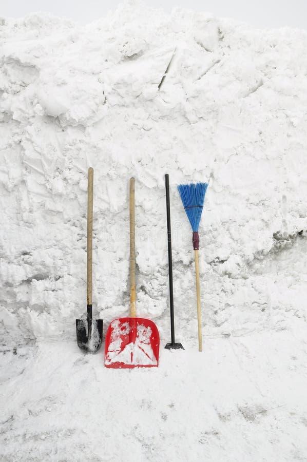 Herramientas para despejar nieve imagen de archivo libre de regalías