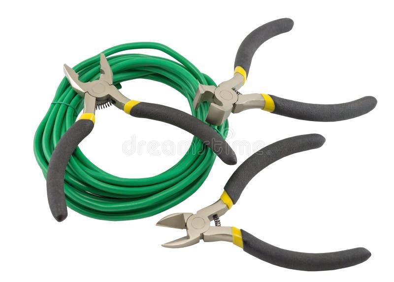 Herramientas para el electricista y los cables fotografía de archivo