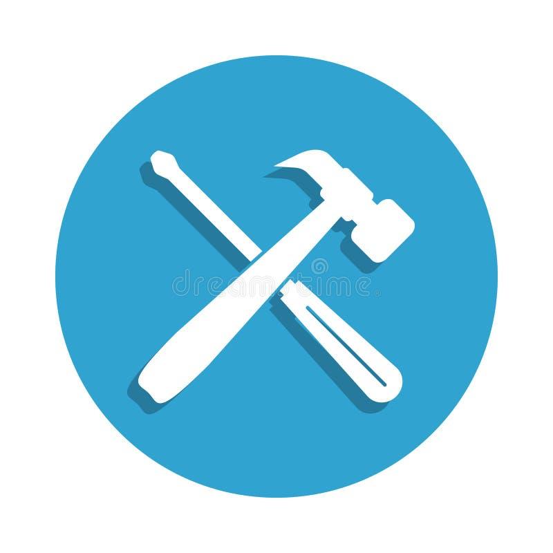 herramientas para el icono de la reparación en estilo de la insignia Uno del icono cibernético de la colección de la seguridad se ilustración del vector
