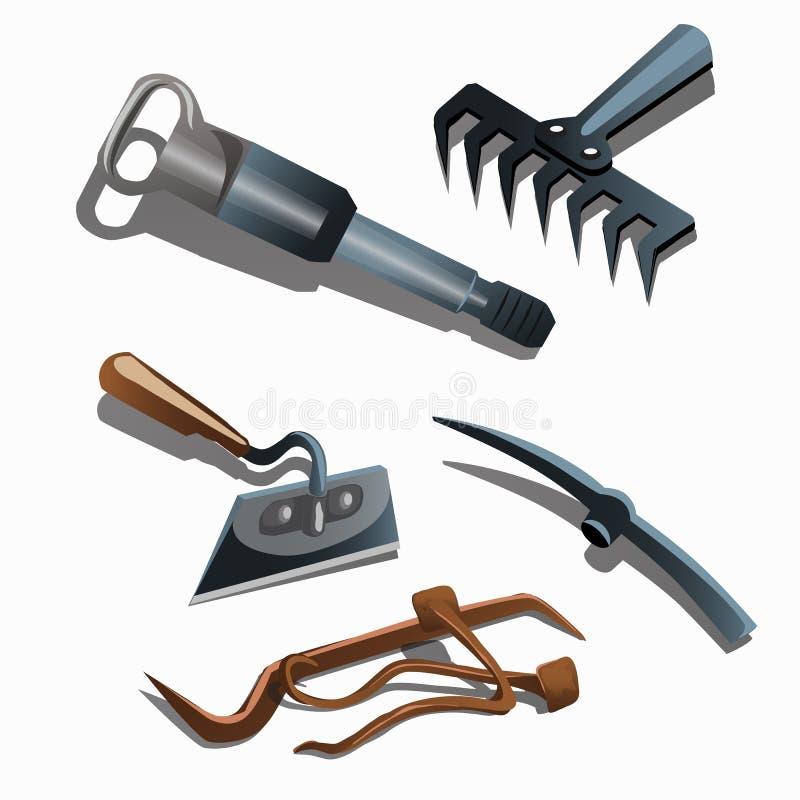 Herramientas para la construcción y ajardinar caseros stock de ilustración