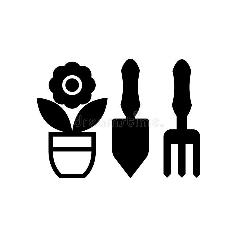 Herramientas que cultivan un huerto e icono de la maceta aislado en el fondo blanco libre illustration