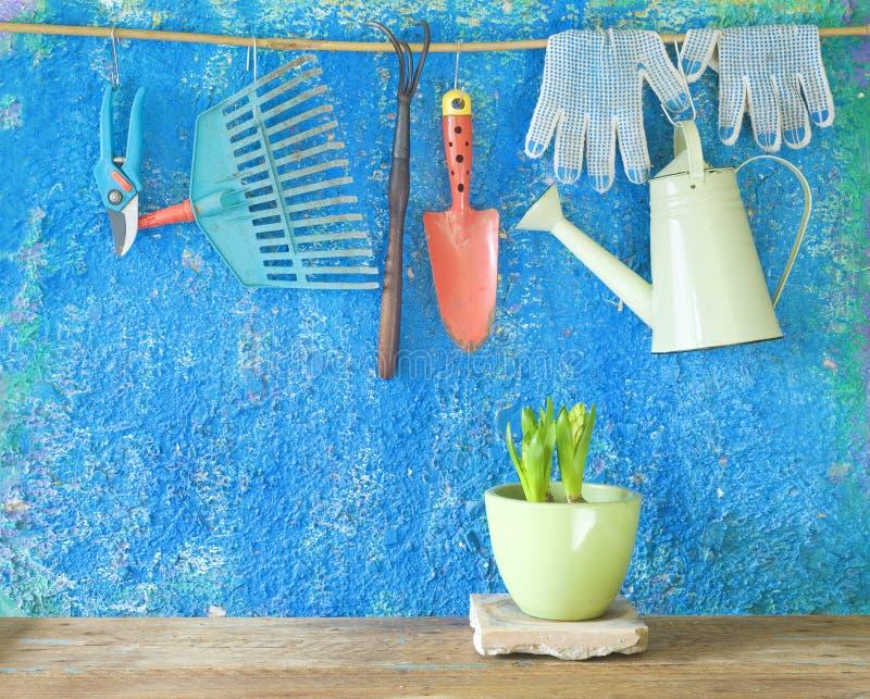 Herramientas que cultivan un huerto, el cultivar un huerto de la primavera imagen de archivo