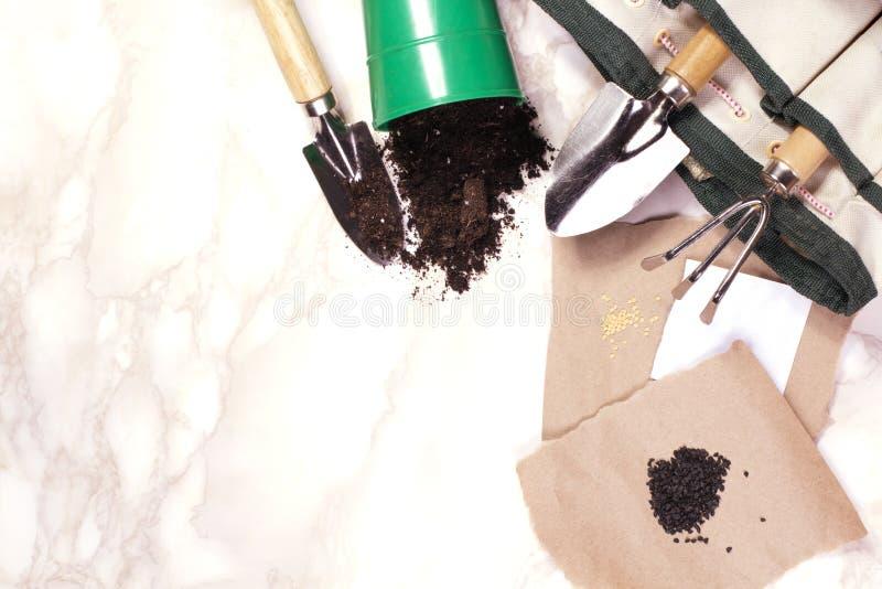 Herramientas que cultivan un huerto en el fondo de mármol imagenes de archivo