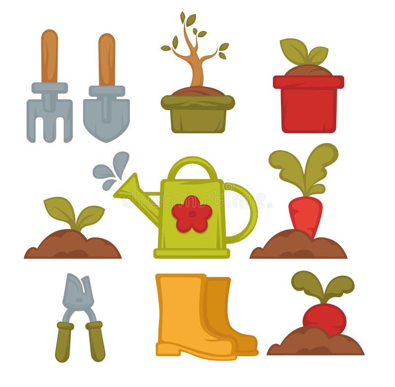 Herramientas que cultivan un huerto y verduras que plantan el rastrillo y la pala ilustración del vector