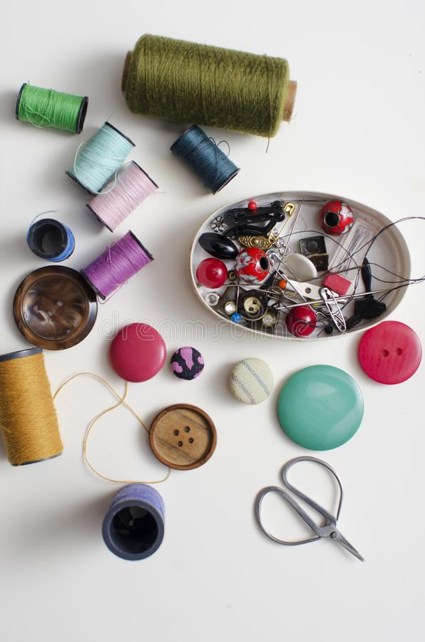 Herramientas y accesorios para coser fotografía de archivo libre de regalías