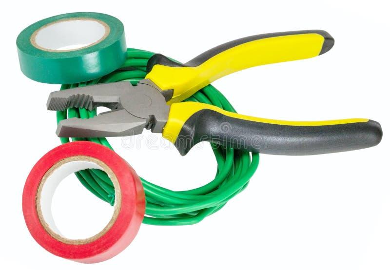 Herramientas y cables eléctricos imagen de archivo libre de regalías