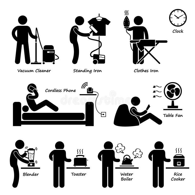 Herramientas y equipos electrónicos Cliparts de los dispositivos de la casa casera ilustración del vector