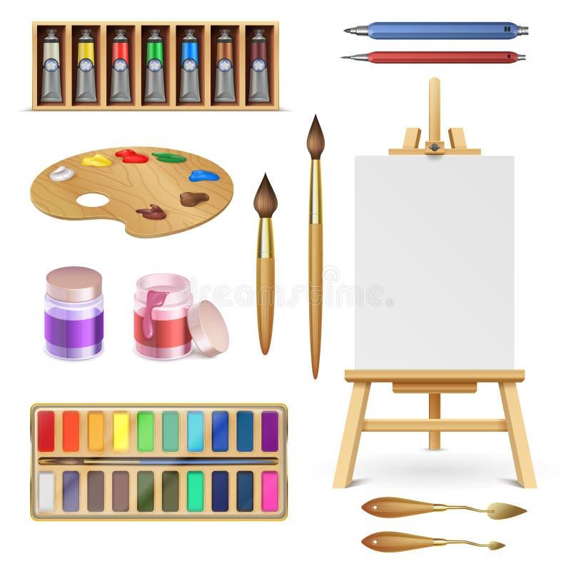 Herramientas y fuentes artísticas del arte con el caballete, el cepillo de pinturas de la paleta y el sistema aislado lápiz del v ilustración del vector