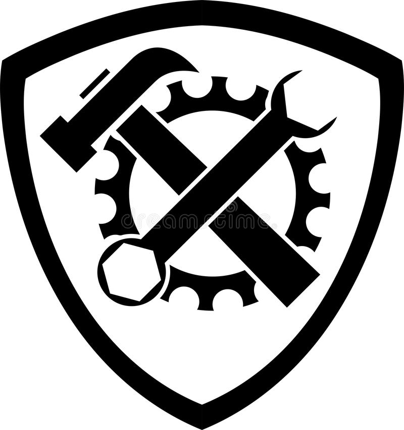 Herramientas y logotipo del escudo de armas, de las herramientas y de los mecánicos stock de ilustración