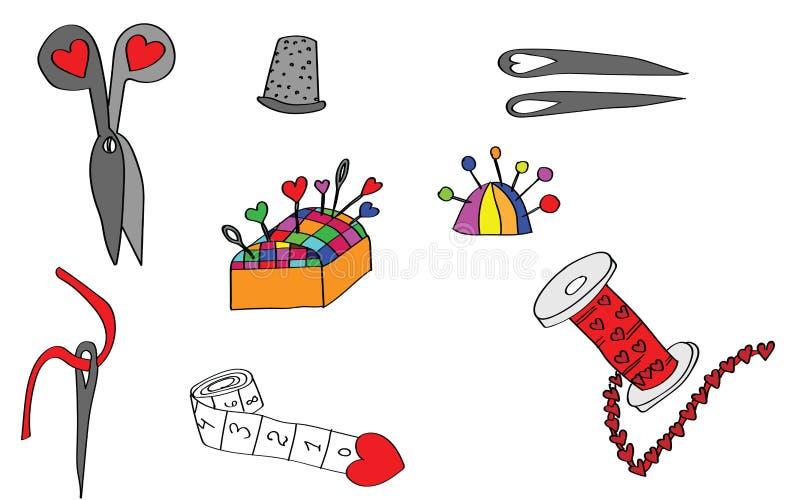 Herramientas y objetos de costura fijados libre illustration