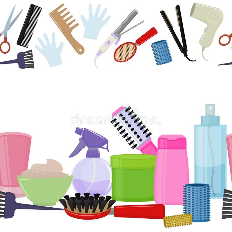 Herramientas y productos del cuidado del cabello stock de ilustración