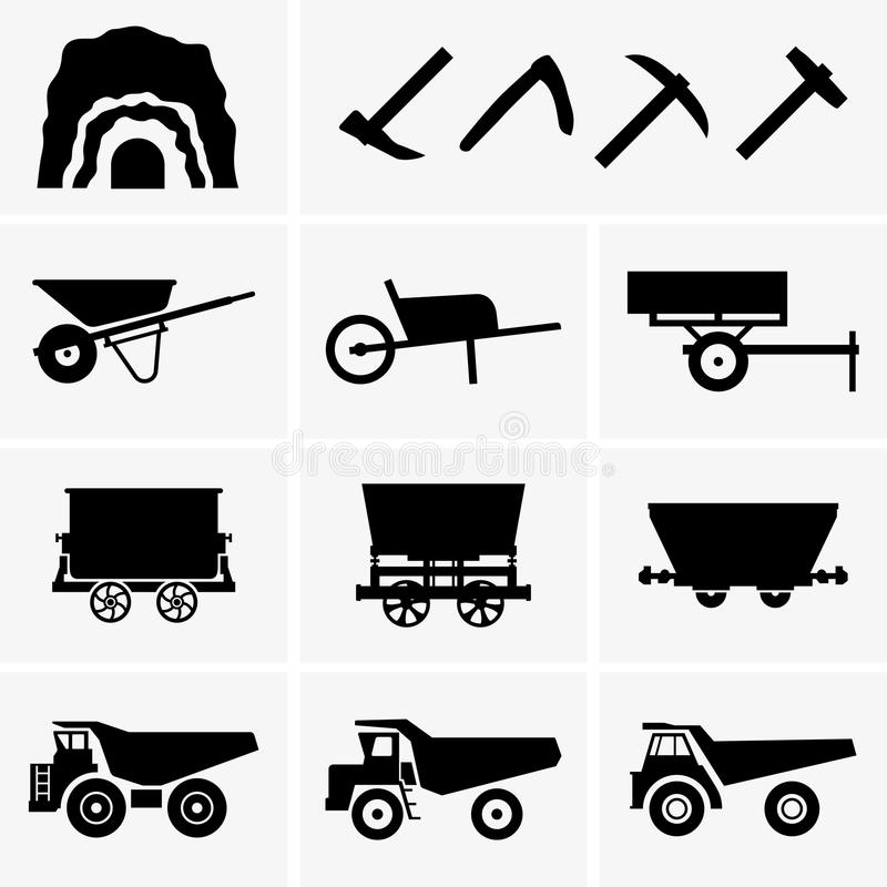 Herramientas y transporte de la explotación minera ilustración del vector