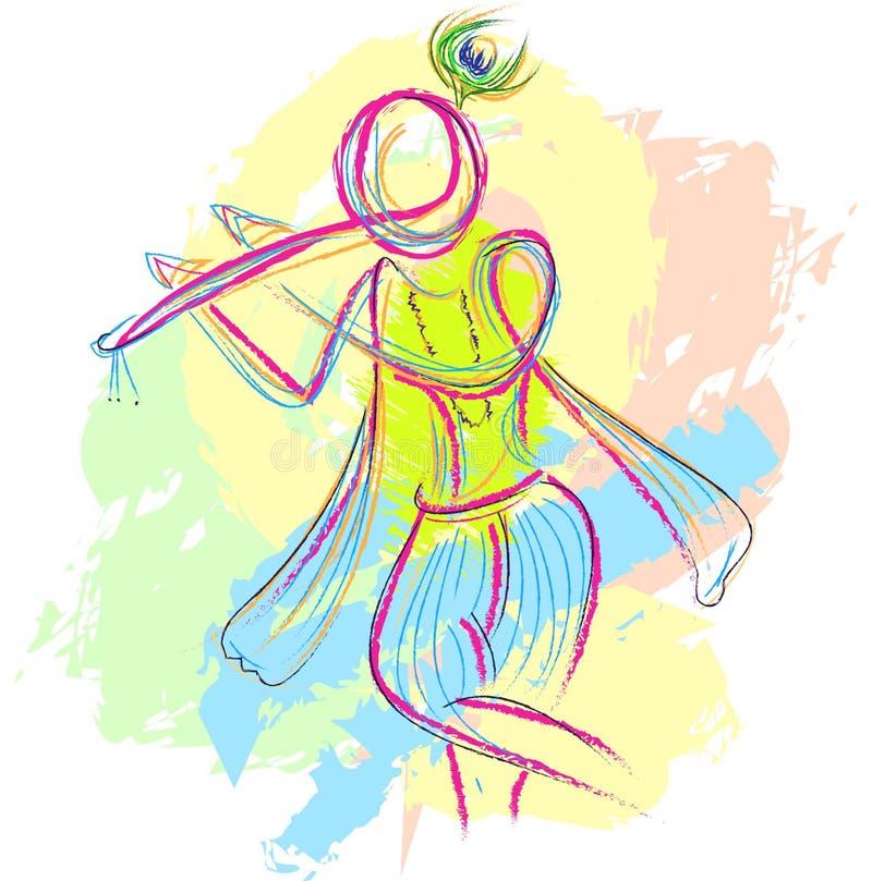 Herrekrishnaen skissar med flöjten för inviterar vektor illustrationer