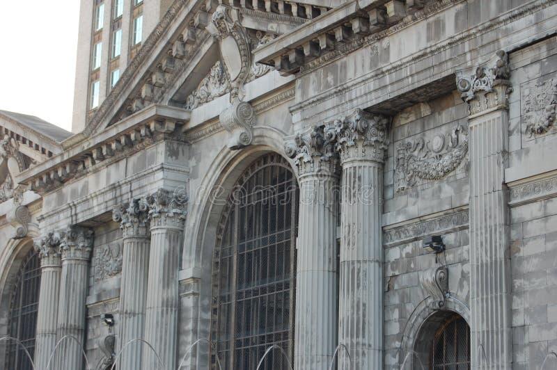 Herrelöst godsMichican centralstation Detroit Michigan USA arkivfoto