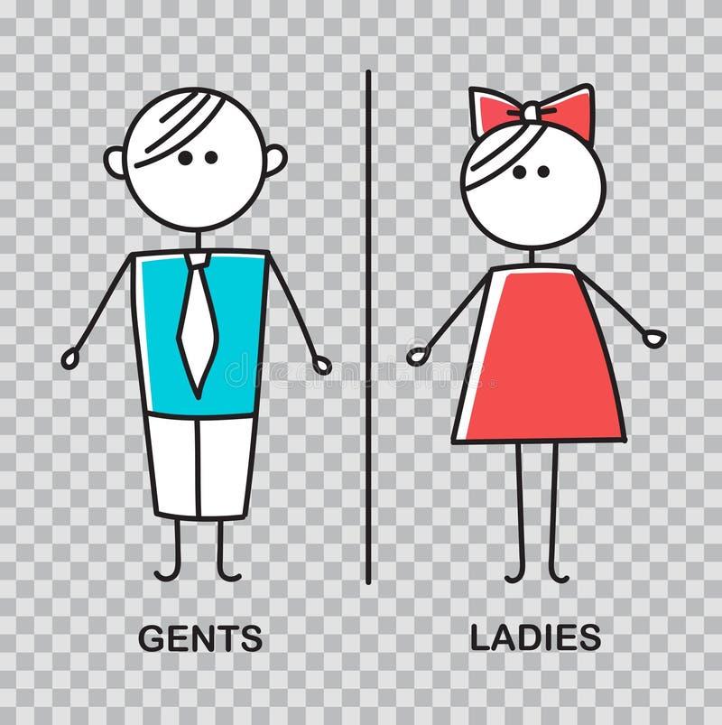 Herren und Damen WC-Zeichen für Toilette WC-Ikone vektor abbildung