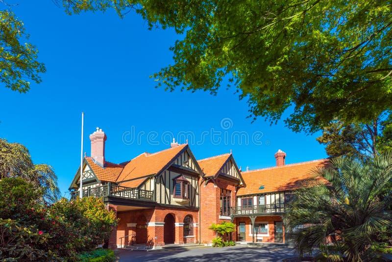 Herrenhaus im Park, Christchurch, Neuseeland lizenzfreies stockbild