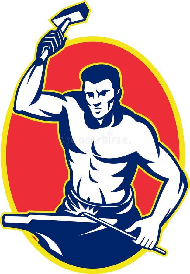 Herrero con el yunque llamativo del martillo libre illustration