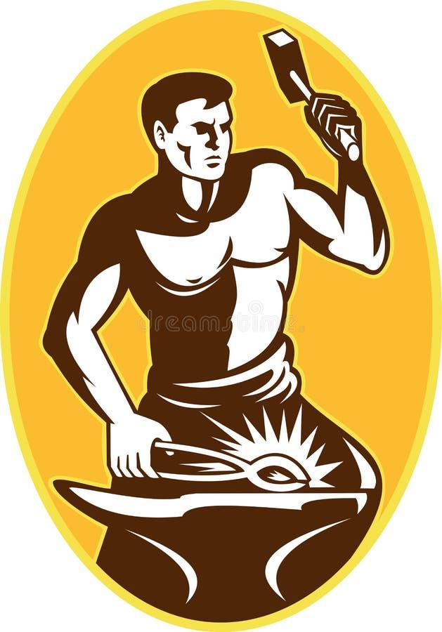 Herrero con el yunque llamativo del martillo stock de ilustración