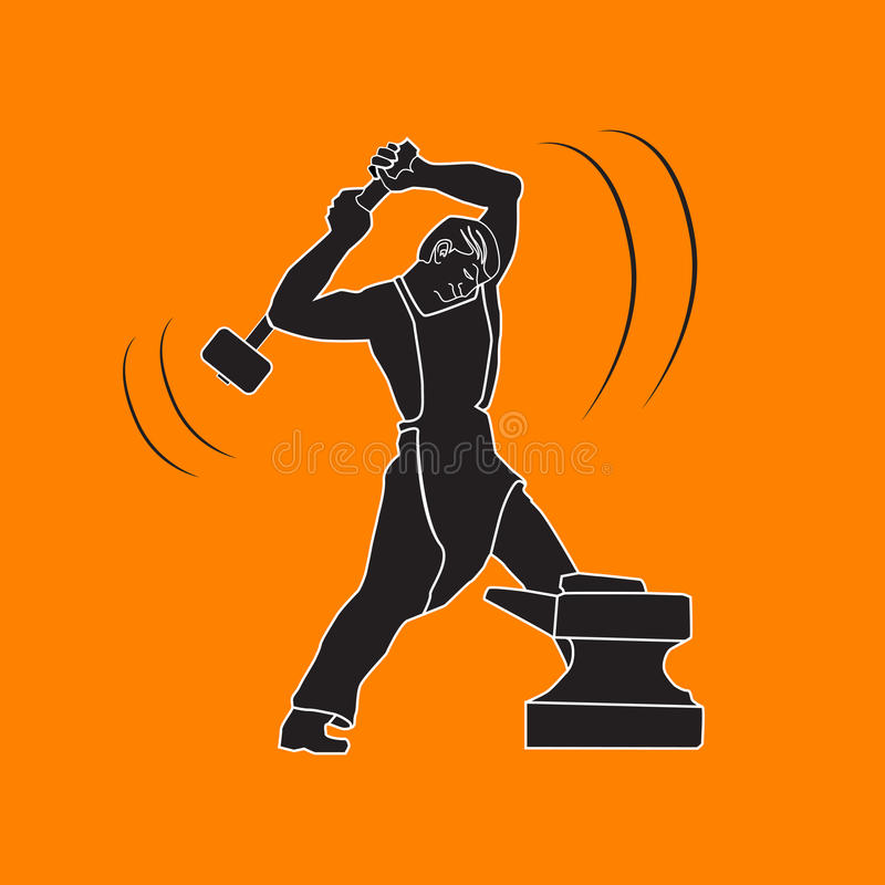 Herrero de Byuschy en el yunque con un martillo imagen de archivo