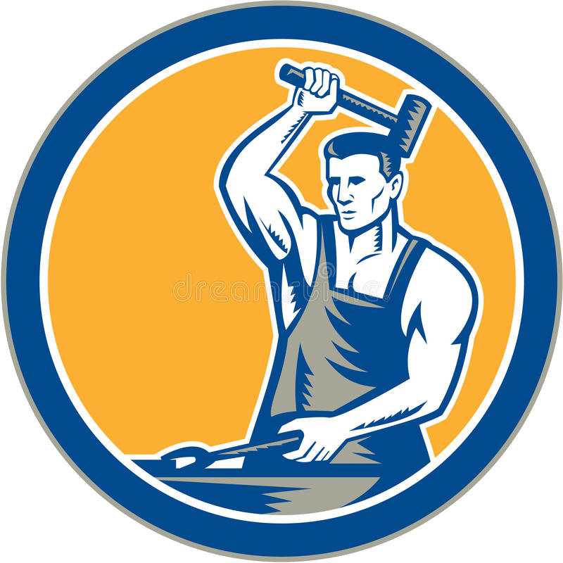 Herrero Hammering Pliers Circle retro stock de ilustración