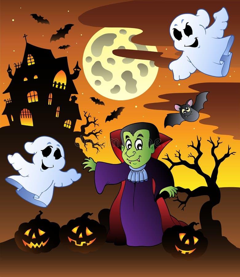 herrgårdplats för 4 halloween stock illustrationer