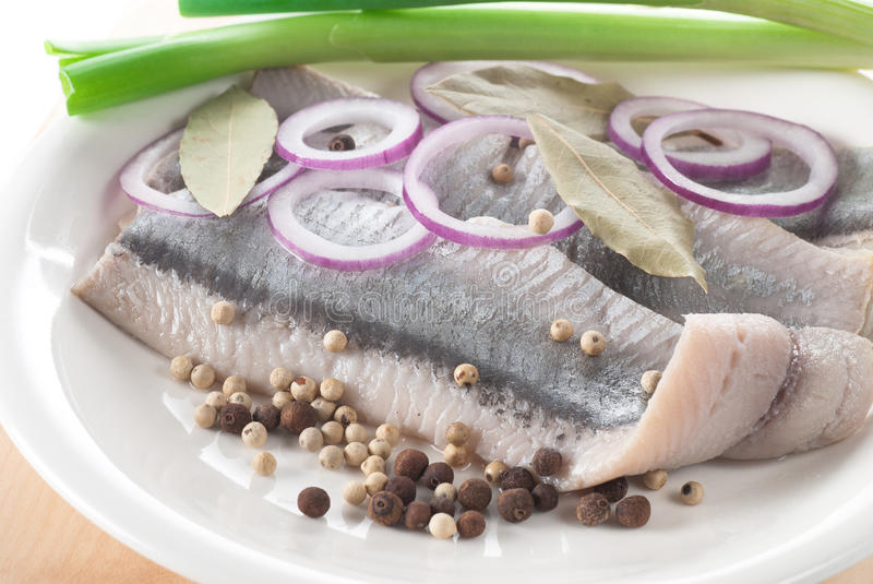Herring. Fillet with onion, white pepper, allspice and bay leaf stock photo
